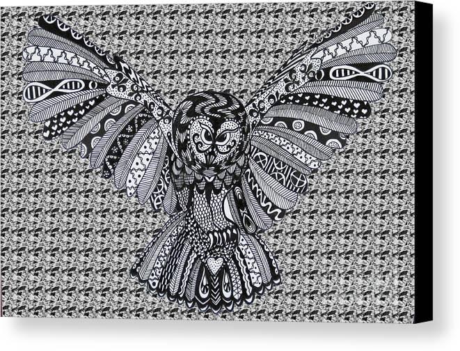 Edinburgh Festival Canvas Print featuring the drawing Owl In Flight Pattern by Karen Larter