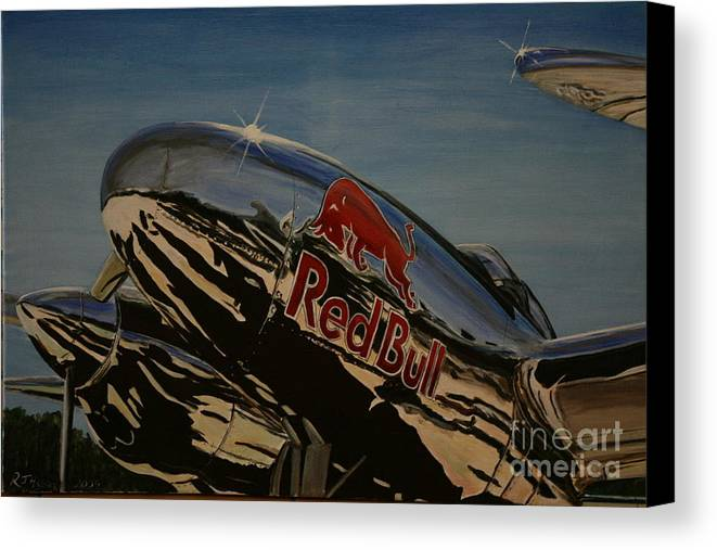 Warbirds Canvas Print featuring the painting P38 Red Bull Lightning Warbird by Richard John Holden RA