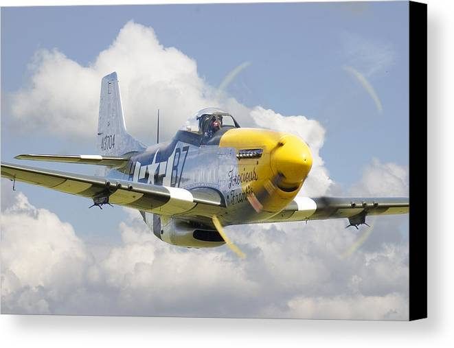 Aircraft Canvas Print featuring the digital art P51 Ferocious Frankie by Pat Speirs