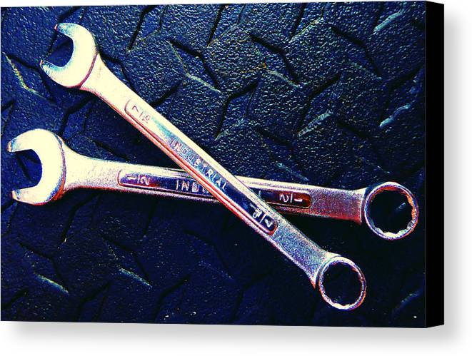 Hammer Canvas Print featuring the photograph Pair Of Wrenches by Laurie Tsemak