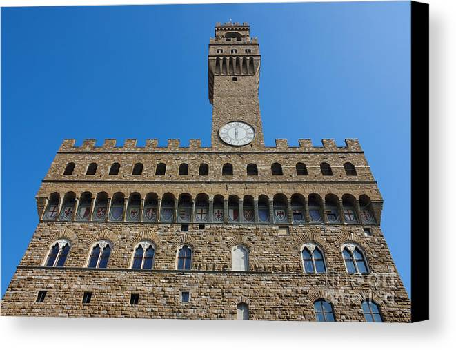 Italy Canvas Print featuring the photograph Palazzo Vecchio In Florence by Kiril Stanchev