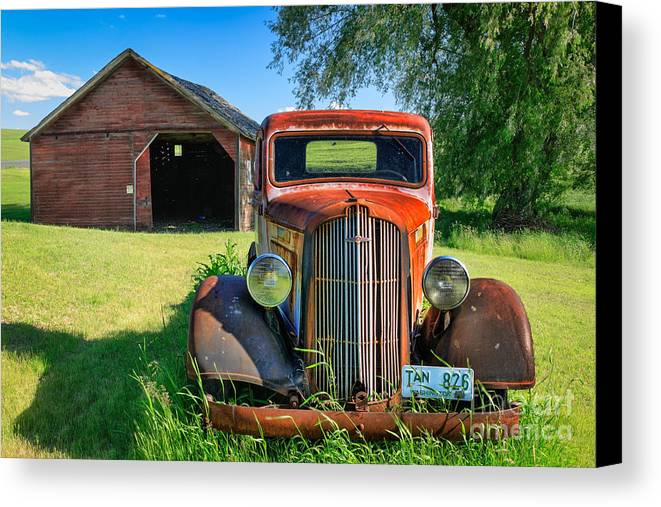 America Canvas Print featuring the photograph Palouse Dodge by Inge Johnsson