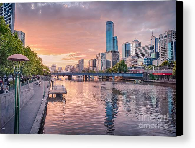 Melbourne Canvas Print featuring the photograph Pastel Sunset by Ray Warren
