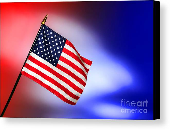 Flag Canvas Print featuring the photograph Patriotic American Flag by Olivier Le Queinec