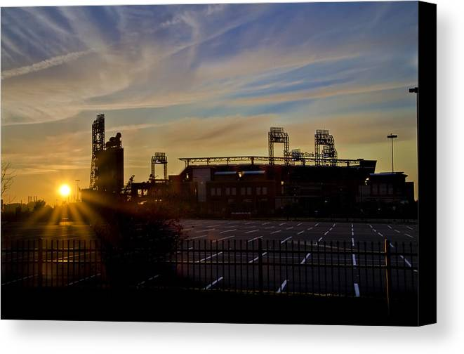 Phillies Canvas Print featuring the photograph Phillies Citizens Bank Park At Dawn by Bill Cannon