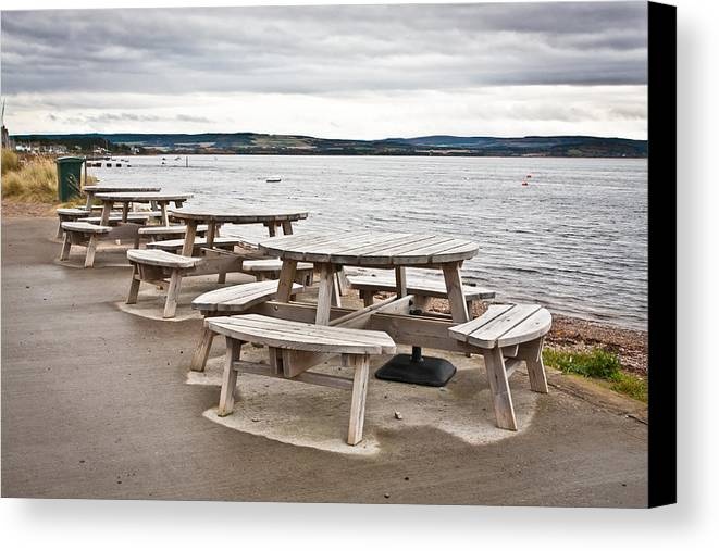 Al Fresco Canvas Print featuring the photograph Picnic Tables by Tom Gowanlock