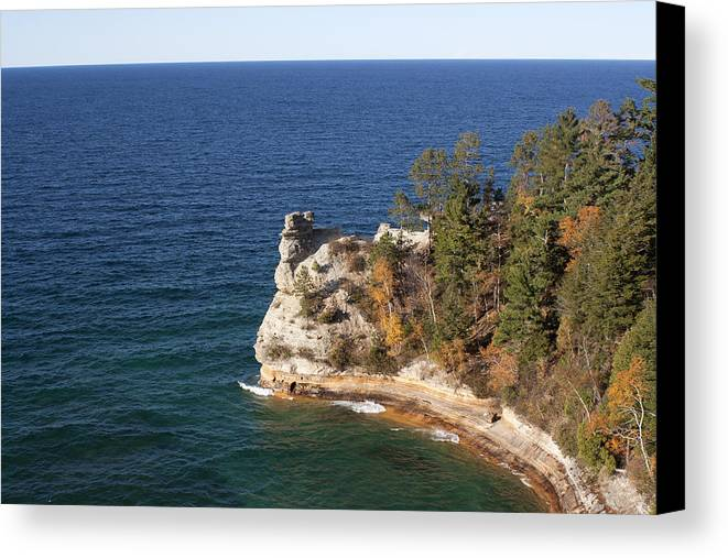 Pictured Rocks Canvas Print featuring the photograph Pictured Rocks National Lakeshore by Debby Richards