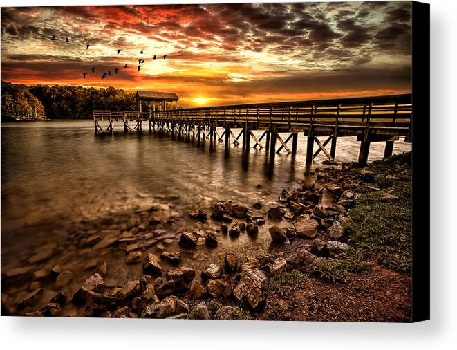 Pier Canvas Print featuring the photograph Pier At Smith Mountain Lake by Joshua Minso