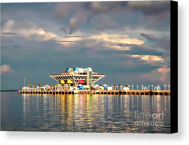 Sunset Canvas Print featuring the photograph Pier Sunset by Judy Rogero