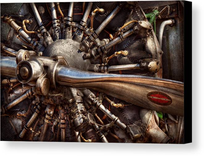 Plane Canvas Print featuring the photograph Pilot - Plane - Engines At The Ready by Mike Savad