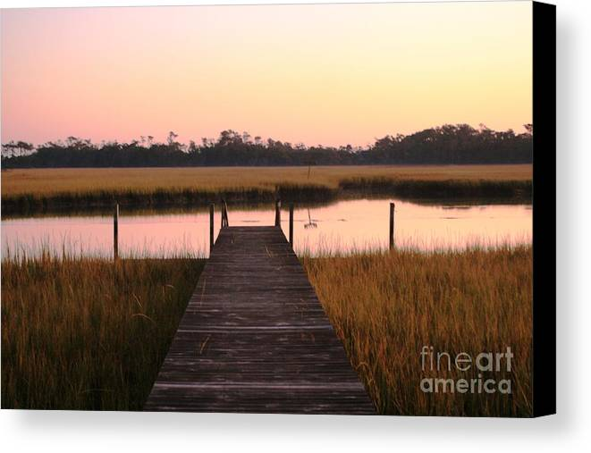 Pink Canvas Print featuring the photograph Pink And Orange Morning On The Marsh by Nadine Rippelmeyer