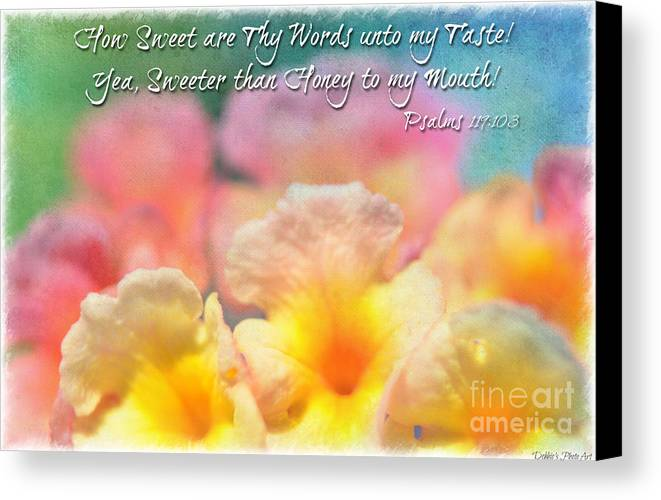 Macro Canvas Print featuring the photograph Pink And Yellow Lantana With Verse by Debbie Portwood