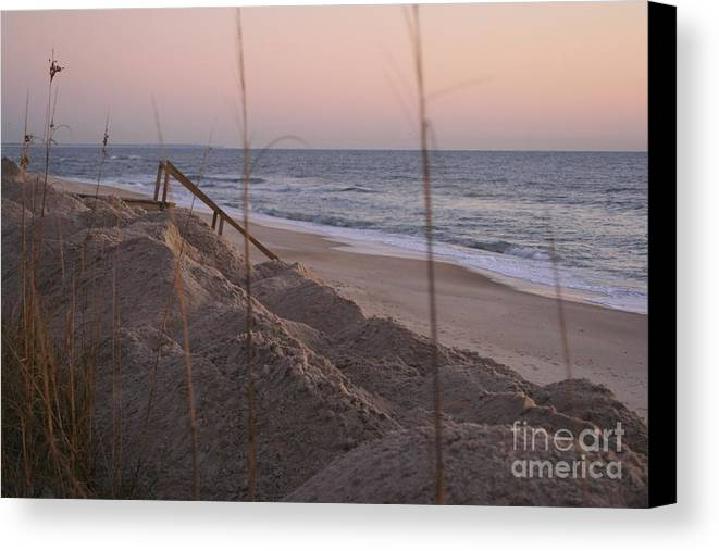 Pink Canvas Print featuring the photograph Pink Sunrise On The Beach by Nadine Rippelmeyer