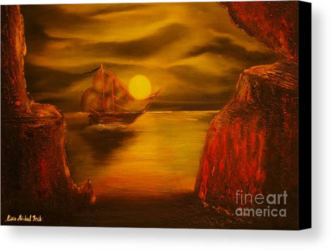 Cave Canvas Print featuring the painting Pirates Cave- Original Sold - Buy Giclee Print Nr 27 Of Limited Edition Of 40 Prints by Eddie Michael Beck