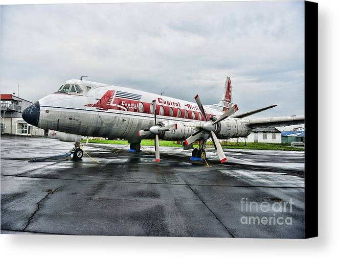 Paul Ward Canvas Print featuring the photograph Plane Props On Capital Airlines by Paul Ward