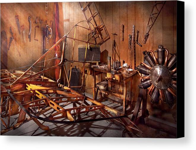 Savad Canvas Print featuring the photograph Plane - The Dawn Of Aviation by Mike Savad