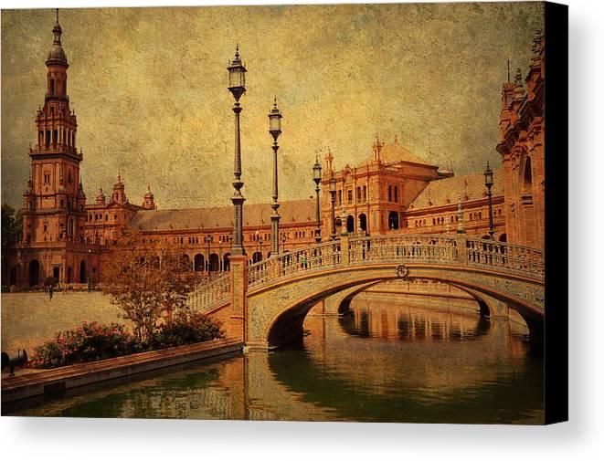 Seville Canvas Print featuring the photograph Plaza De Espana 9. Seville by Jenny Rainbow