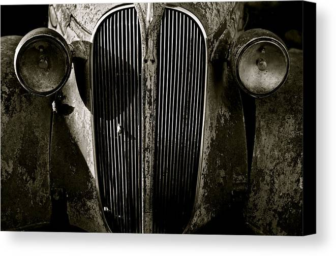Car Canvas Print featuring the photograph Plymouth Grill Black And White by Portlens Photography
