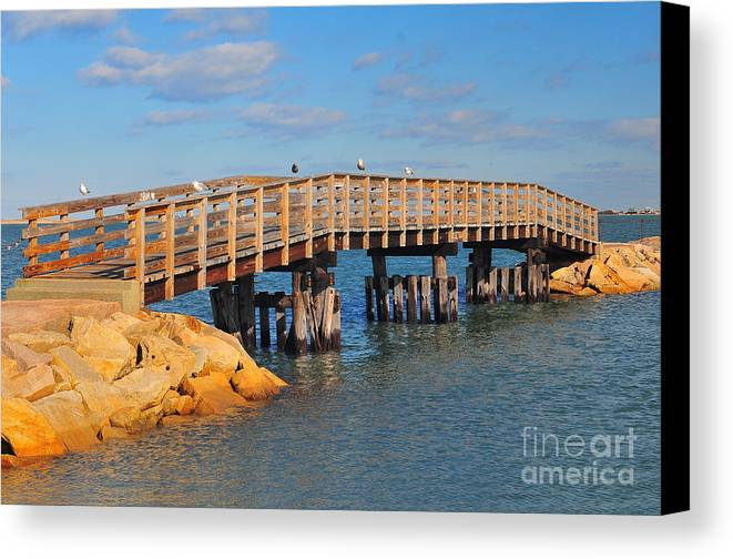 Find In Fine Art America Folder Canvas Print featuring the photograph Plymouth Harbor Breakwater by Catherine Reusch Daley