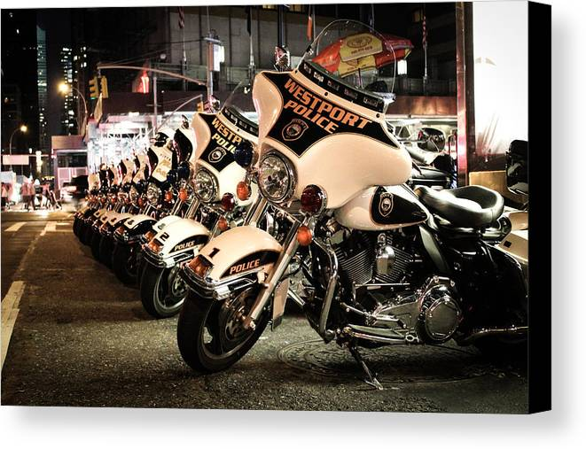 Police Canvas Print featuring the photograph Police Bikes In New York by Sam Garcia