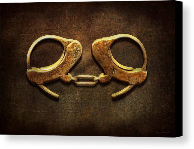 Handcuffs Canvas Print featuring the photograph Police - Handcuffs Aren't Always A Bad Thing by Mike Savad