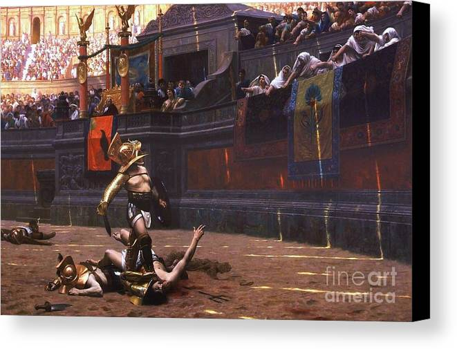 Pd Canvas Print featuring the painting Pollice Verso by Pg Reproductions