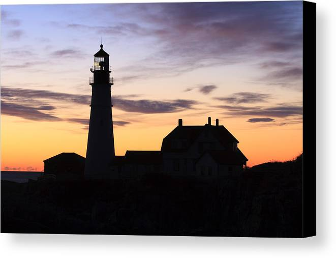 Portland Head Light Canvas Print featuring the photograph Portland Head Light Silhouette by Shane Borelli