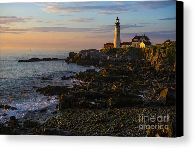 Portland Head Lighthouse Canvas Print featuring the photograph Portland Head Lighthouse At Dawn by Diane Diederich