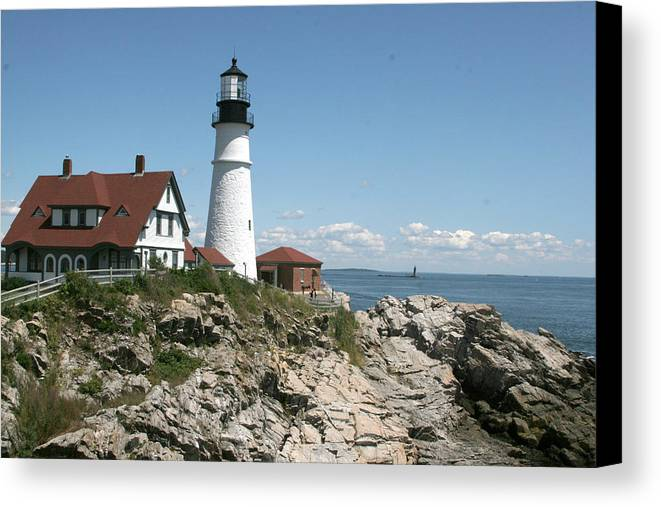 Lighthouse Canvas Print featuring the photograph Portland Headlight Lighthouse 1 by Kathy Hutchins