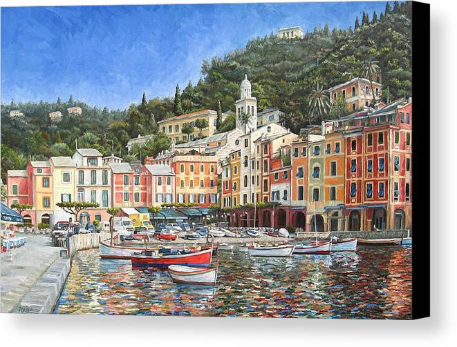 Portofino Canvas Print featuring the painting Portofino Italy by Mike Rabe