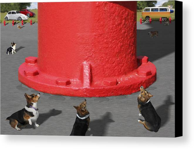 Corgis Canvas Print featuring the photograph Postcards From Otis - The Hydrant by Mike McGlothlen