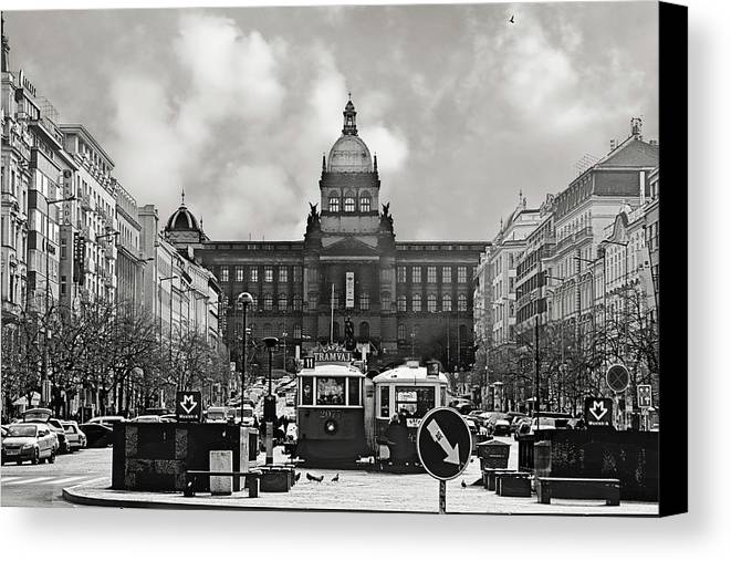 New Town Canvas Print featuring the photograph Prague Wenceslas Square And National Museum by Christine Till