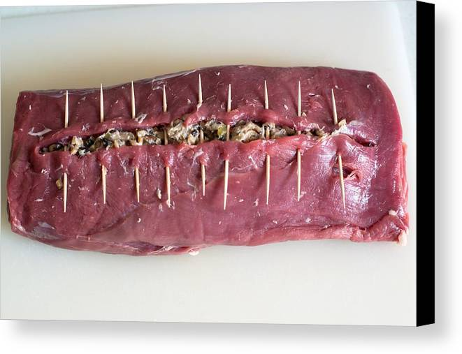 Meat Canvas Print featuring the photograph Preparing A Laced Beef by Frank Gaertner