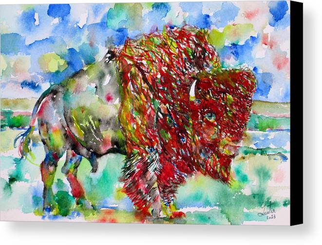 Buffalo Canvas Print featuring the painting Psychedelic Buffalo by Fabrizio Cassetta