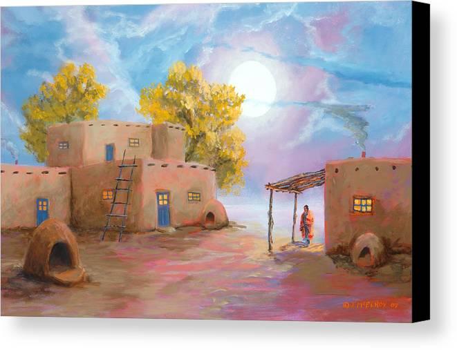 Pueblo Canvas Print featuring the painting Pueblo De Las Lunas by Jerry McElroy