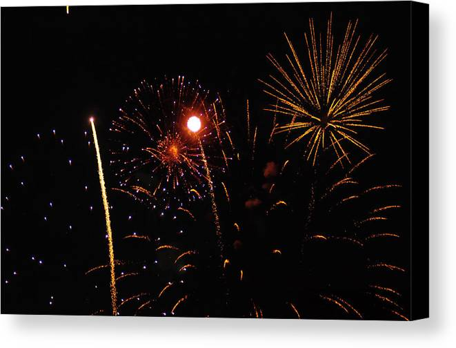 Fireworks Canvas Print featuring the photograph Purple And Gold Stars by Marissa Farra