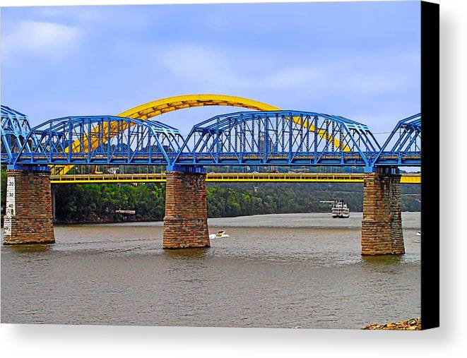 Newport Southbank Bridge Canvas Print featuring the photograph Purple People Bridge And Big Mac Bridge - Ohio River Cincinnati by Christine Till