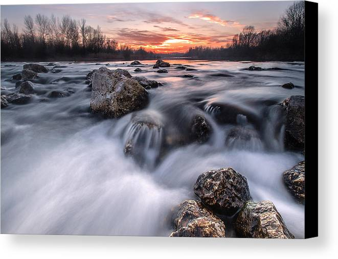 Landscapes Canvas Print featuring the photograph Rapids On Sunset by Davorin Mance