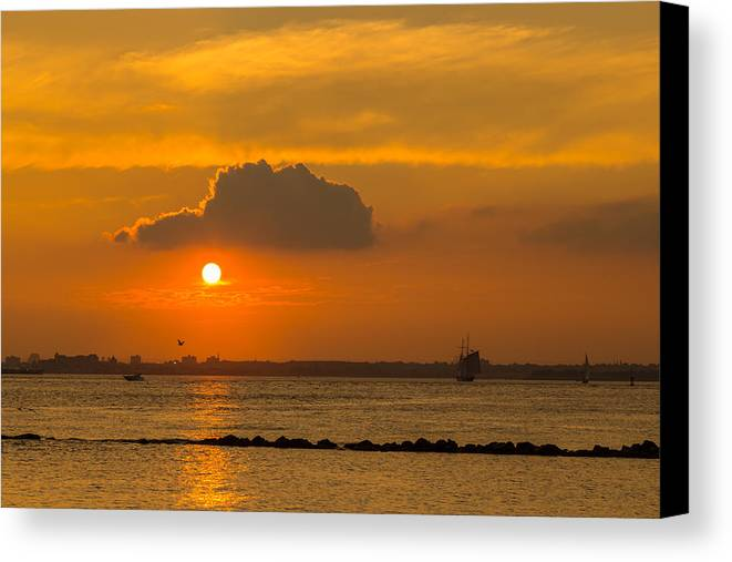 Sunsets Canvas Print featuring the photograph Red Hook Sunset 4 by Charles A LaMatto