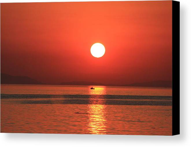 Canada Canvas Print featuring the photograph Red Sails In The Sunset by Michael Williams