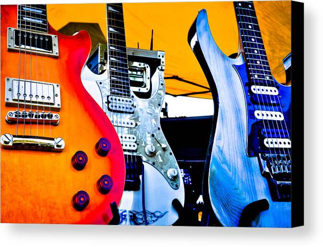 The Kingpins Canvas Print featuring the photograph Red White And Blue Guitars by David Patterson