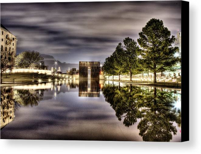Okc Canvas Print featuring the photograph Reflecting by Tom Parash
