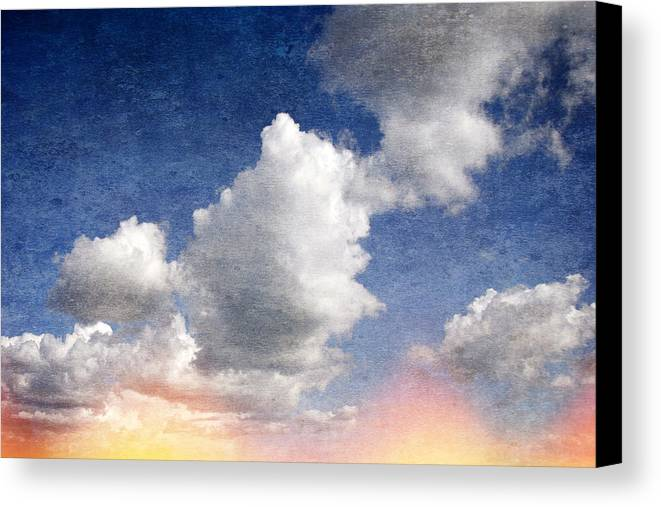 Retro Canvas Print featuring the digital art Retro Clouds 2 by Steve Ball