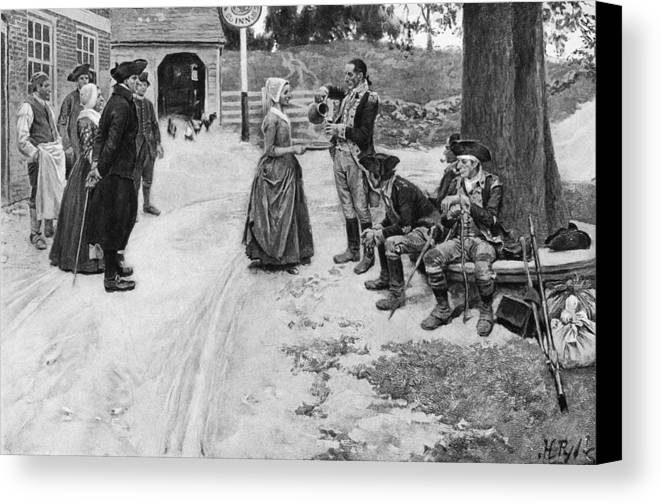 1780s Canvas Print featuring the photograph Revolution: Soldiers by Granger