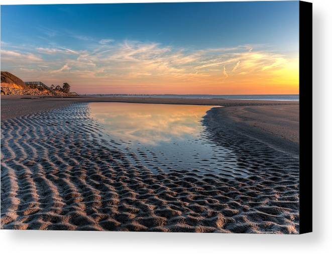 Clouds Canvas Print featuring the photograph Ripples In The Sand by Debra and Dave Vanderlaan