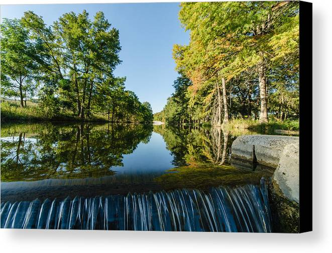 Texas Canvas Print featuring the photograph River Falls In The Fall On The Guadalupe River by Jeffrey W Spencer