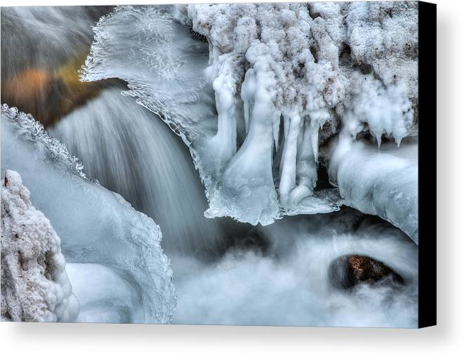 River Canvas Print featuring the photograph River Ice by Chad Dutson