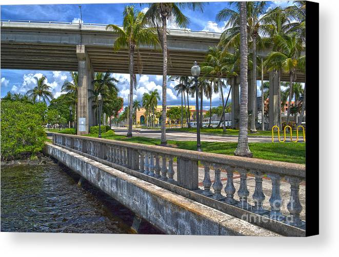 Fort Myers Canvas Print featuring the photograph Riverfront Downtown Fort Myers by Timothy Lowry