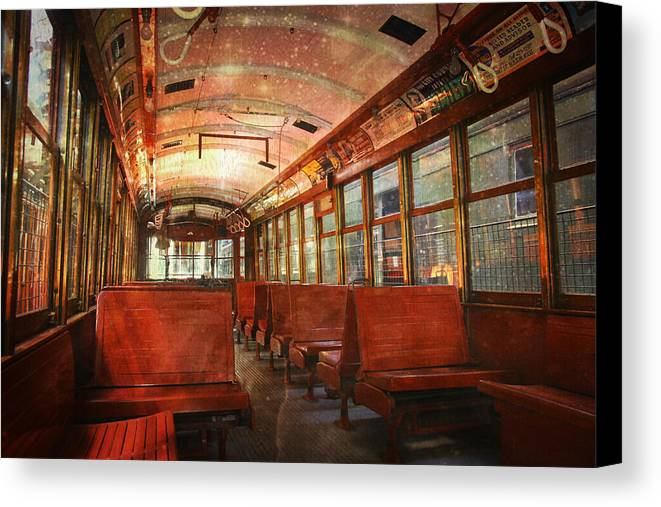 Trolley Canvas Print featuring the photograph Roaming The Empty Aisles by Sheryl Bergman