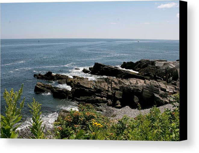Maine Canvas Print featuring the photograph Rocks Below Portland Headlight Lighthouse 4 by Kathy Hutchins